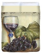 Red Wine And Grape Leaf Duvet Cover by Debbie DeWitt