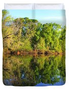 Reflections on The River Duvet Cover by Debra Forand
