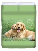 Relaxing Retrievers Duvet Cover by Greg Cuddiford