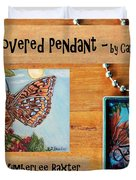 Resin Pendant With Butterfly And Sky Duvet Cover by Carla Parris