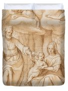 Rest On The Flight Into Egypt Duvet Cover by Federico Zuccaro
