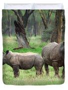Rhino Family Duvet Cover by Sebastian Musial