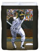 Rickey Henderson Duvet Cover by Mike Rabe