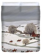 Riding In The Snow Duvet Cover by Vincent Haddelsey