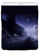 Rising Moon Over Ocean And Mountains Duvet Cover by Evgeny Kuklev