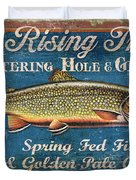 Rising Trout Sign Duvet Cover by JQ Licensing