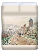 Road In Vetheuil In Winter Duvet Cover by Claude Monet