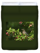 Robin And Berries Duvet Cover by Mircea Costina Photography
