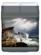 Robin Hoods Bay, Yorkshire, 1825 Duvet Cover by Francis Nicholson