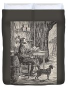 Robinson Crusoe In His Cave Duvet Cover by English School