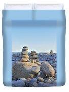 Rock Piles Zen Stones Little Hunters Beach Maine Duvet Cover by Terry DeLuco