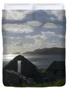 Rock Ruin by the Ocean - Ireland Duvet Cover by Mike McGlothlen