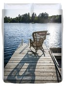 Rocking Chair On Dock Duvet Cover by Elena Elisseeva