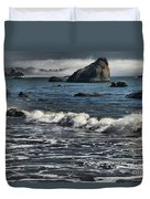 Rocks In The Surf Duvet Cover by Adam Jewell