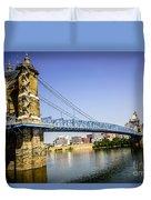 Roebling Bridge In Cincinnati Ohio Duvet Cover by Paul Velgos