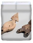 Roman Terracotta Oil Lamps Duvet Cover by Ilan Amihai