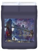 Romance By East River Nyc Duvet Cover by Ylli Haruni