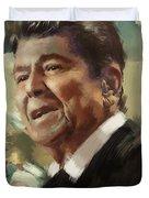 Ronald Reagan Portrait 5 Duvet Cover by Corporate Art Task Force