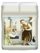 Rooftop Annunciation One Duvet Cover by Caroline Jennings