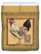 Rooster And Stripes Duvet Cover by Debbie DeWitt