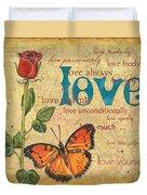 Roses And Butterflies 2 Duvet Cover by Debbie DeWitt