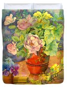 Roses And Pansies Duvet Cover by Julia Rowntree