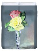 Roses In A Champagne Glass Duvet Cover by Edouard Manet