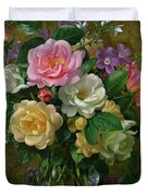 Roses in a glass vase Duvet Cover by Albert Williams