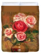 Roses In A Pot Duvet Cover by Pierre Auguste Renoir