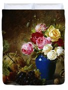 Roses in a Vase Peaches Nuts and a Melon on a Marbled Ledge Duvet Cover by Olaf August Hermansen