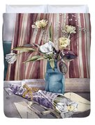Roses Tulips And Striped Curtains Duvet Cover by Julia Rowntree