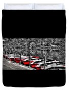 Row Of Red Rowing Boats Duvet Cover by Kaye Menner
