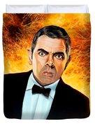 Rowan Atkinson alias Johnny English Duvet Cover by Paul  Meijering