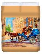 Rue Notre Dame Caleche Ride Duvet Cover by Carole Spandau