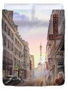 Rue Saint Dominique Sunset Through Eiffel Tower   Duvet Cover by Irina Sztukowski