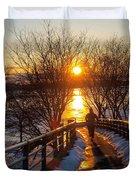 Running in Sunset Duvet Cover by Paul Ge