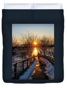 Running In Sunset Duvet Cover by Paul Ge