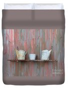 Rustic Garden Shelf Duvet Cover by Ann Horn