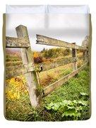 Rustic Landscapes - Broken Fence Duvet Cover by Gary Heller