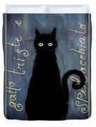 Sad And Ruffled Cat Duvet Cover by Donatella Muggianu