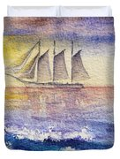 Sailboat in the Ocean Duvet Cover by Irina Sztukowski