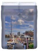Sailboats In Constitution Marina - Boston Duvet Cover by Joann Vitali