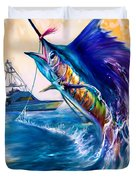 Sailfish And Sportfisher Art Duvet Cover by Savlen Art