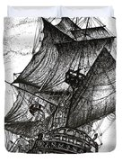 Sailing Drawing Pen and Ink in Black and White Duvet Cover by Mario  Perez