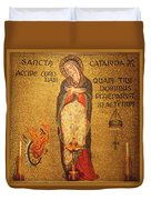 Saint Catherine Of Alexandria Altar Duvet Cover by Philip Ralley