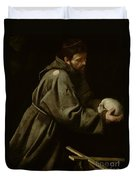 Saint Francis In Meditation Duvet Cover by Michelangelo Merisi da Caravaggio