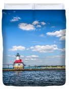Saint Joseph Lighthouse and Pier Picture Duvet Cover by Paul Velgos