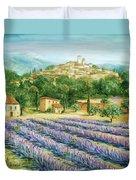 Saint Paul De Vence And Lavender Duvet Cover by Marilyn Dunlap