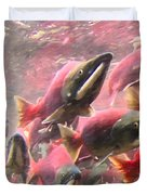 Salmon Run - Square - Painterly - 2013-0103 Duvet Cover by Wingsdomain Art and Photography