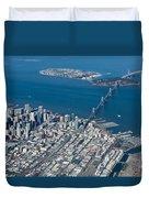 San Francisco Bay Bridge Aerial Photograph Duvet Cover by John Daly